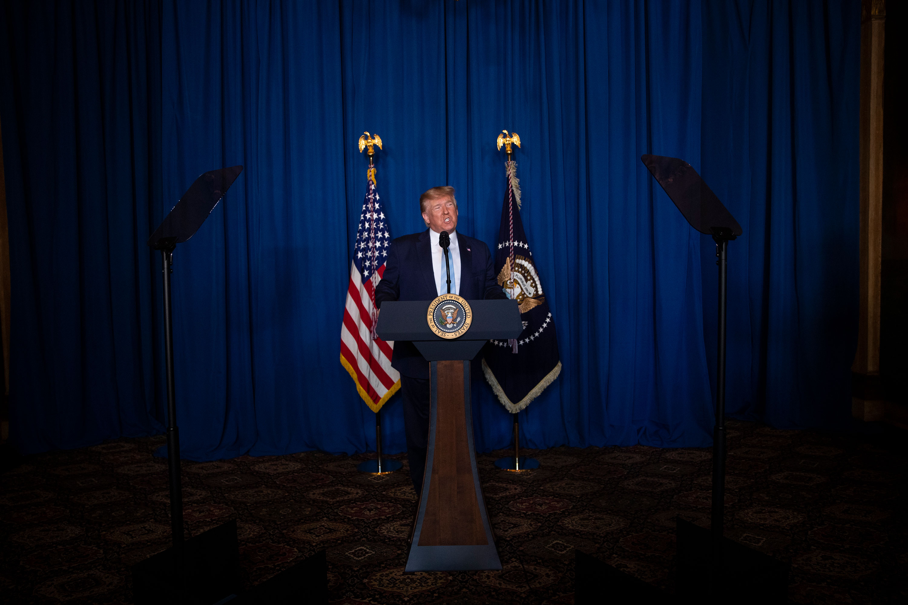 President Donald Trump delivers remarks on Iran following the US airstrike that killed Qasem Soleimani.