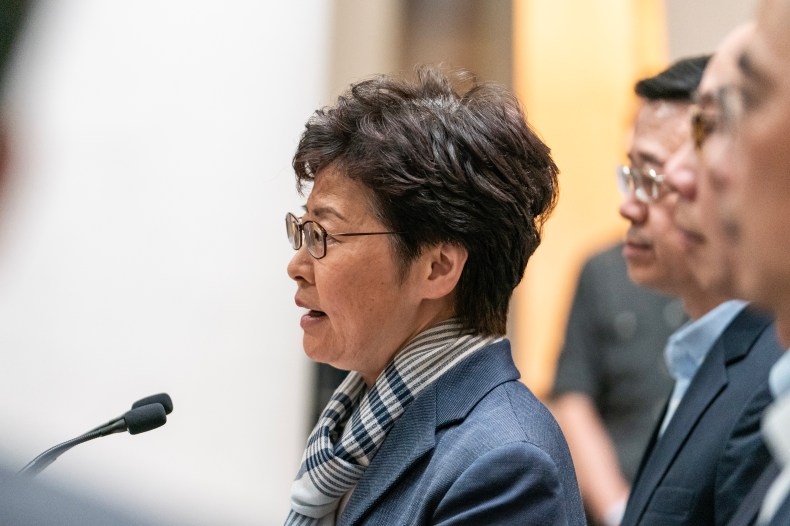 Hong Kong Chief Executive Carrie Lam speaks during a press conference on November 11 in Hong Kong.