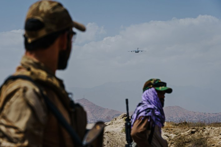 A C-17 aircraft takes off from the Kabul airport on August 29.
