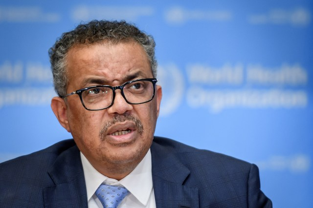 WHO Director-General Tedros Adhanom Ghebreyesus during a news conference at WHO headquarters in Geneva, Switzerland, in March 2020.