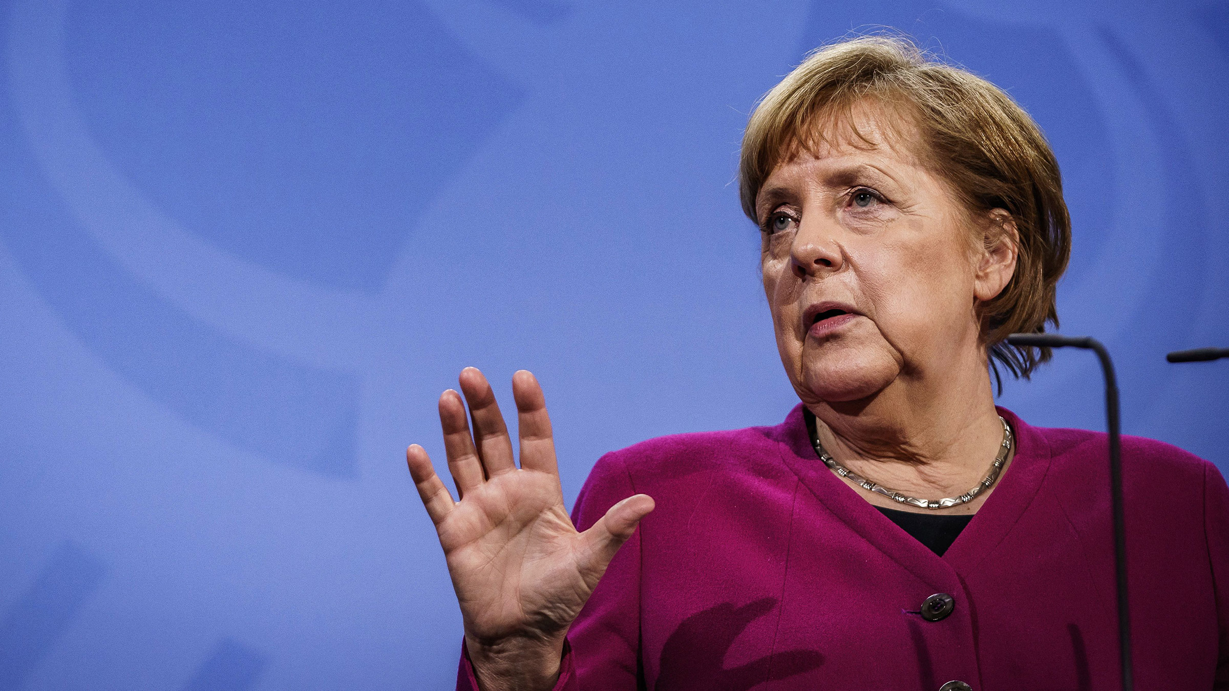 German leader Angela Merkel gives a press statement at the Chancellery in Berlin, on March 25.