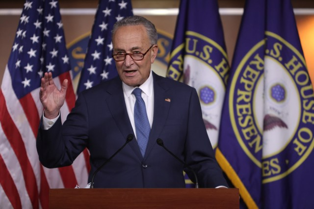 Senate Minority Leader Sen. Chuck Schumer participates in a news conference August 7 on Capitol Hill in Washington.