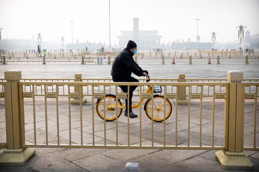 Un ciclista attraversa piazza Tiananmen a Pechino, normalmente affollata di turisti durante le vacanze di Capodanno lunare, il 27 gennaio.