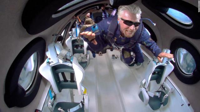 Richard Branson and crew aboard the VSS Unity on July 11, 2021.