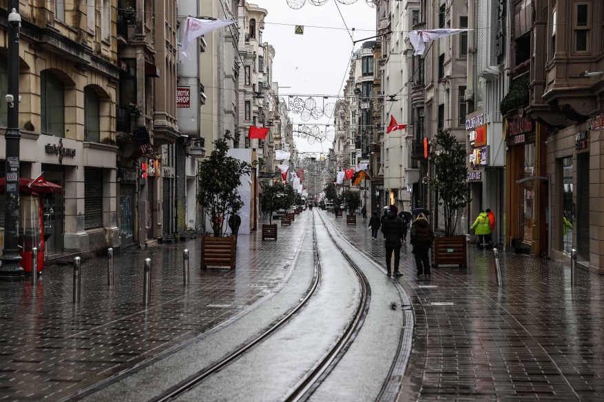 The nearly empty shopping district on Istiklal Avenue in Istanbul is seen during a general curfew on March 21.