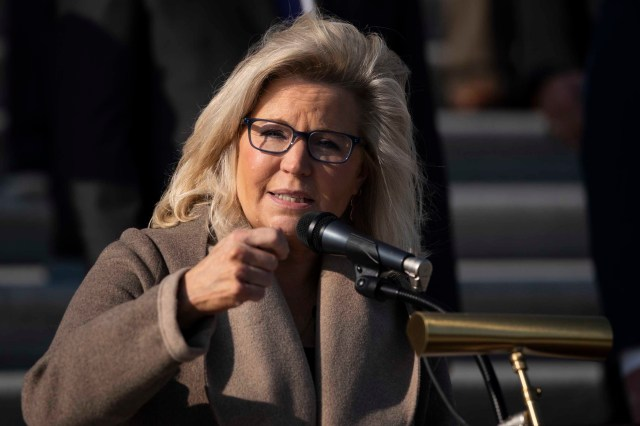 Republican Rep. Liz Cheney of Wyoming speaks during a news conference with fellow House Republicans outside the U.S. Capitol on December 10, 2020 in Washington, DC.
