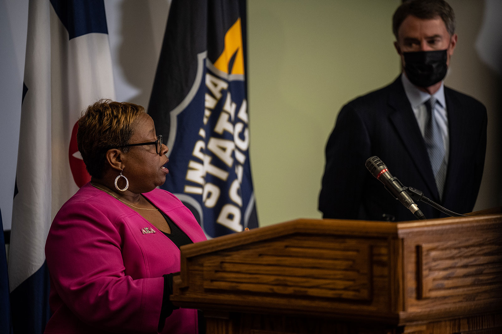 Alfarena McGinty speaks during a press conference on April 16.