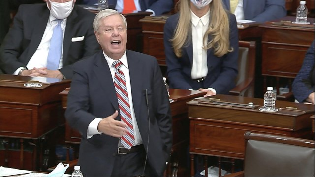 In this image from video, Sen. Lindsey Graham of South Carolina speaks as the Senate reconvenes to debate the objection to confirm the Electoral College Vote from Arizona, after protesters stormed into the U.S. Capitol on Wednesday, January 6.