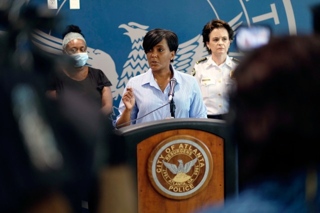 Mayor Keisha Lance Bottoms speaks at a news conference in Atlanta on May 30.