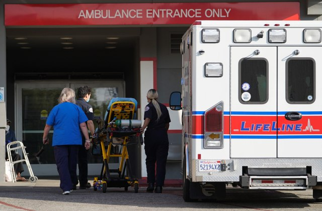 A LifeLine Ambulance arrives at the CHA Hollywood Presbyterian Medical Center in Los Angeles on January 5.