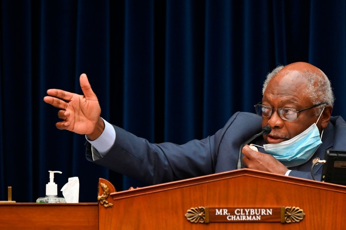 Chairman James Clyburn speaks during a House Subcommittee on the Coronavirus Crisis hearing on Capitol Hill in Washington, DC on July 31.