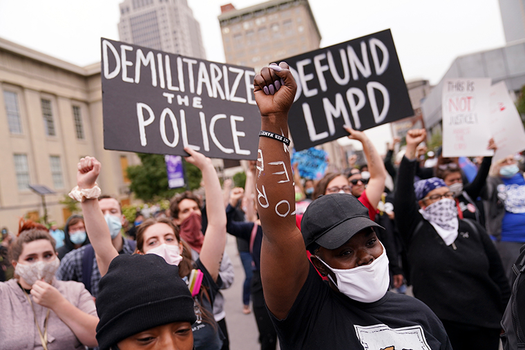 Protesters gather, Wednesday, September 23, in Louisville, Kentucky.
