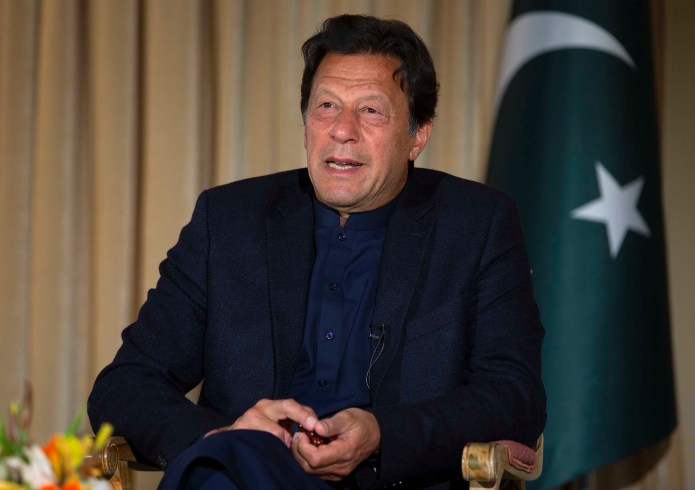Pakistan's Prime Minister Imran Khan speaks during an interview with The Associated Press, in Islamabad, Pakistan, on March 16.