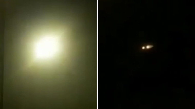 Two frames from a video sent to CNN that appears to show a missile fired into the Tehran sky early Wednesday morning and striking an object in the sky.