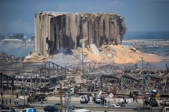 The aftermath of a massive explosion at the port in Beirut, Lebanon, is seen in this image taken August 5, 2020.