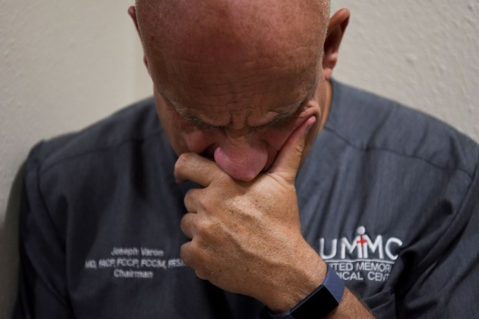 Dr. Joseph Varon, the chief medical officer at Houston's United Memorial Medical Center, gets home after a long day at work.