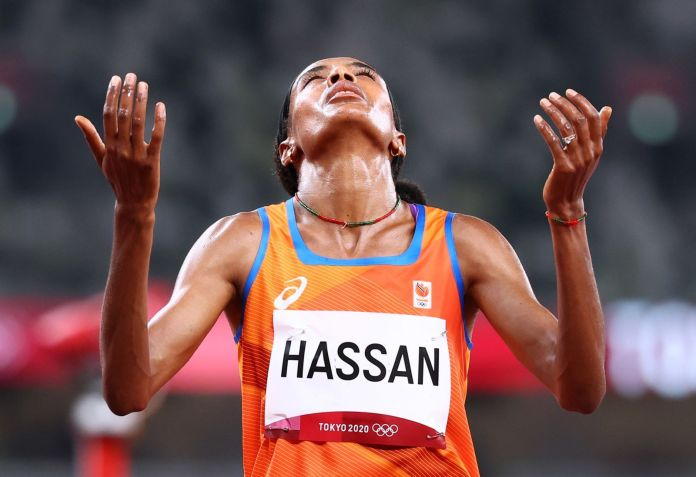 Dutch sprinter Sifan Hassan celebrates after winning the 1,500m heat on Monday.