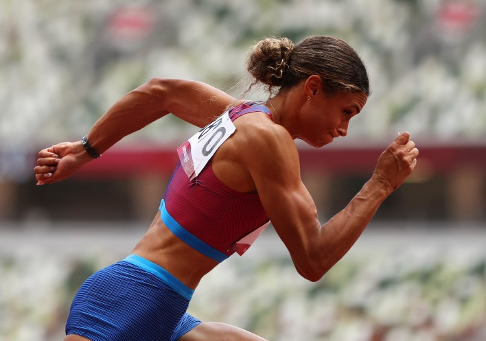 American Sydney McLaughlin competes in the women's 400 meter hurdles final on Wednesday.