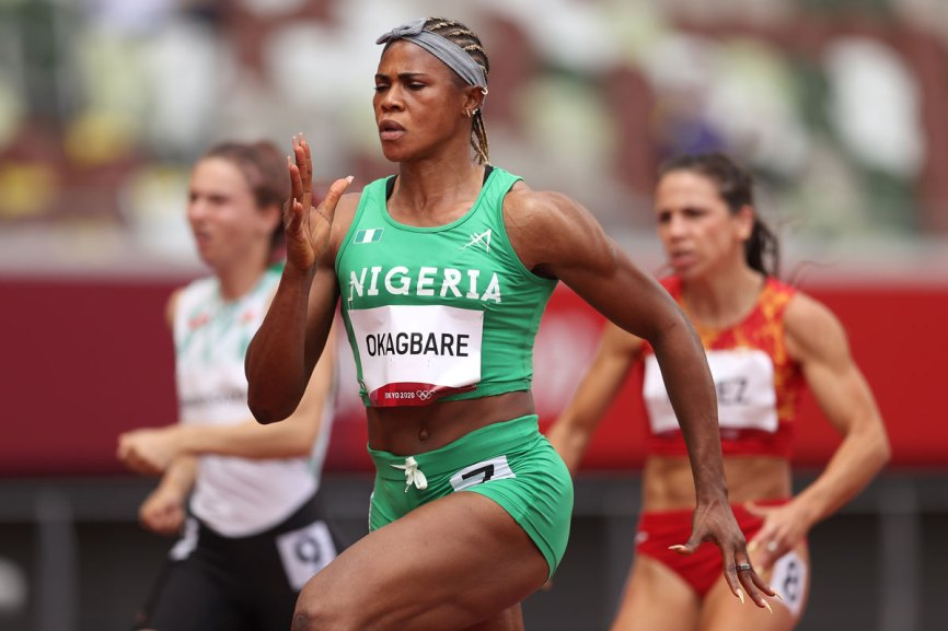 Nigeria's Blessing Okagbare competes during round one of the 100 meter heats on July 30.