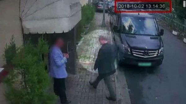 CCTV image of missing Saudi Journalist Jamal Khashoggi entering the Saudi consulate on October 2 at 13:14 p.m. (6:14 a.m. ET).