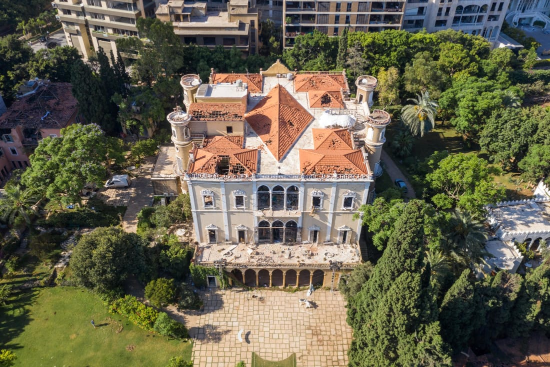 An aerial view of Sursock Palace, damaged in the explosion on August 7.