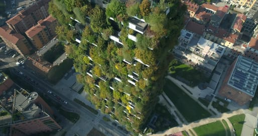 Boeri claims that the volume of trees on the two towers is equivalent to more than 215,000 square feet of forestland.