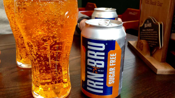 """Irn Bru, Scotland's """"national drink,"""" is what you'll drink in Edinburgh to wash down your morning roll with square sausage."""