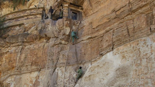 Watch your step on the way up to Debre Damo.