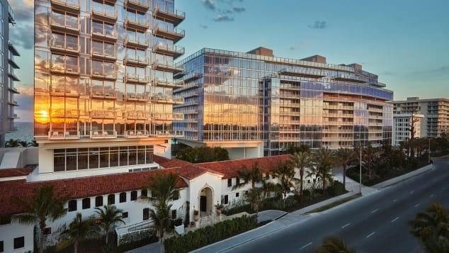 Four Seasons Miami Surf Club exterior sunset