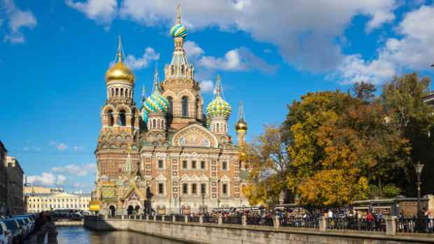 The Church of the Savior on Spilled Blood is one of the main sights of St. Petersburg, Russia