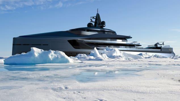 Esquelは1回の旅で7000海里を旅することができます、そして、船上の「おもちゃ」はスノーモービル、ヘリコプターと潜水艦を含みます、とOceancoは言います。
