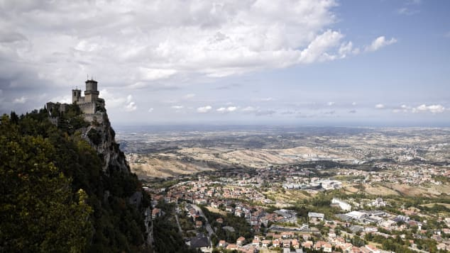 San Marino is surrounded by Italian territory.