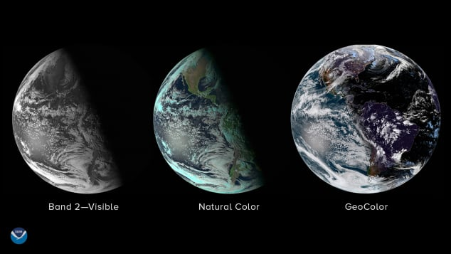 These three images from NOAA's GOES East (GOES-16) satellite show us what Earth looks like from space near the winter solstice. The images were captured about 24 hours before the 2018 winter solstice.