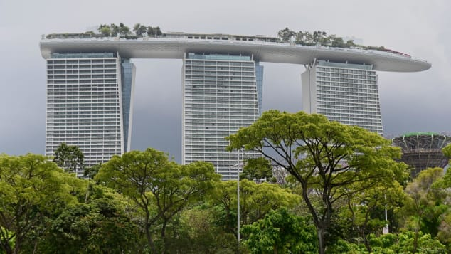 The Marina Bay Sands hotel, Singapore, complete with audacious cantilever roof.
