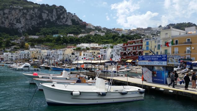 A picture shows the Marina Grande, the main port of Capri island in the Italian Gulf of Naples, on May 22, 2015. AFP PHOTO / DANIEL SLIM (Photo credit should read DANIEL SLIM/AFP via Getty Images)