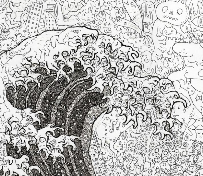 "Detail shot shows Sagaki's version of ""The Great Wave off Kanagawa."""