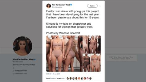 Kim Kardashian sparked anger over cultural appropriation over her new underwear line, as seen in this tweet.