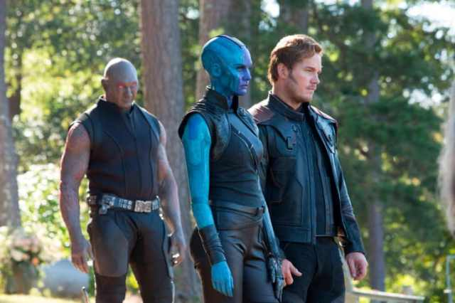 "Drax (Dave Bautista), Nebula (Karen Gillan) and Star-Lord (Chris Pratt) attend Tony Stark's funeral. ""(The actors) were told they were going to a wedding,"" Makovsky said. ""When we were fitting them I told them, 'You have to trust me, you're wearing black -- it's a concept.'"""