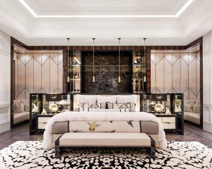 Inside Drake's 3,200-square-foot master bedroom.