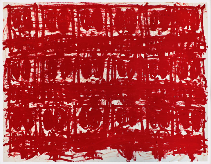 """Johnson's new series """"Untiled Anxious Red Drawings,"""" is bold red to express urgency and alarm."""