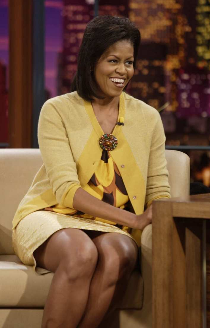 """Michelle Obama at """"The Tonight Show"""" in October 2008, wearing J. Crew."""