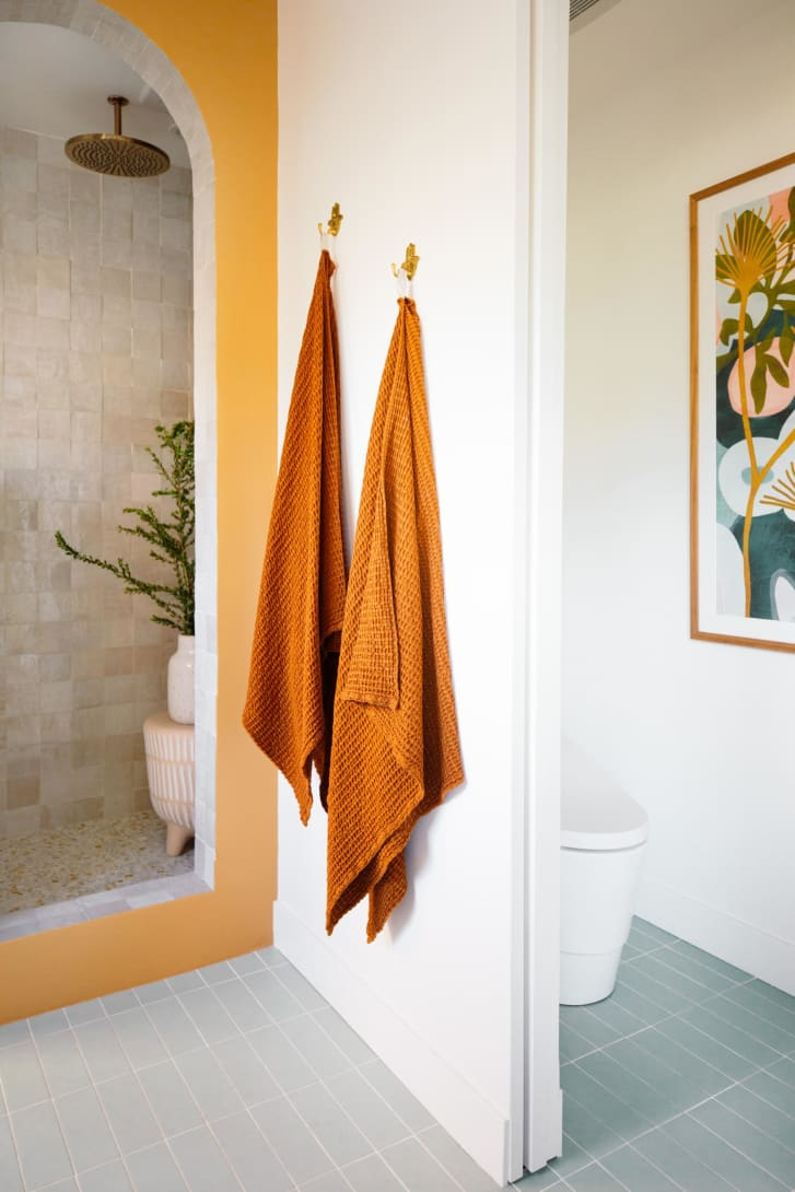 Paint isn't the only way to add color to a room -- smaller home decor like towels can enliven a space.