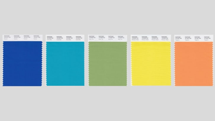 Pantone swatches to soothe and energize (left to right): Skydiver, Scuba Blue, Green Tea, Primrose Yellow and Tangerine.
