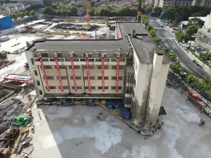 An aerial shot of the Shanghai Lagena Primary School building.