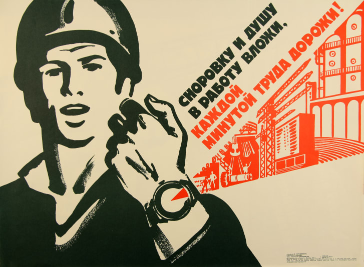 A 1980 Soviet poster depicts a worker in hardhat with his wristwatch projecting the image of a factory.