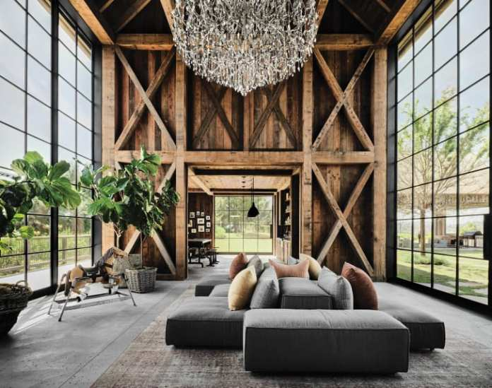 A 10-foot-tall chandelier hangs in the property's guest barn.