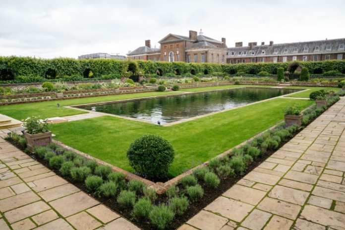 The newly redesigned Sunken Garden is pictured in this image supplied by Kensington Palace.