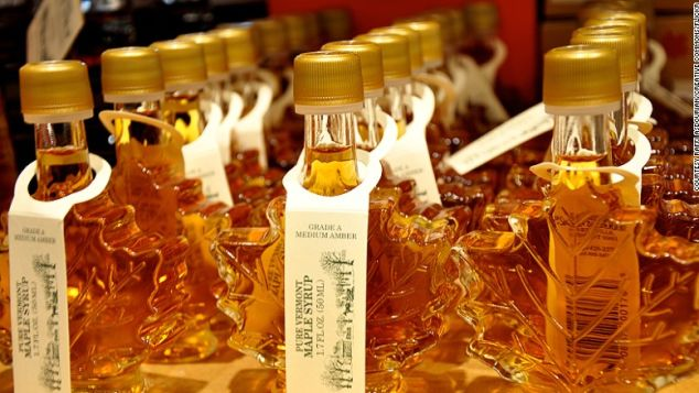 Maple syrup is made from the sap of maple trees.