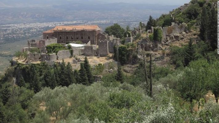 The Byzantine archeological site of Mystras -- the city was abandoned in 1832.
