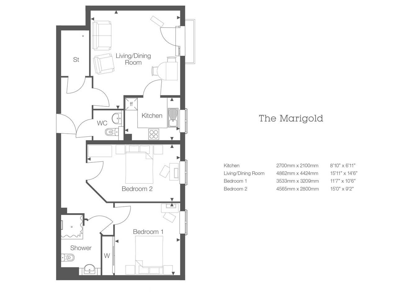 2 bedroom Retirement Property Apartment Number 44 in